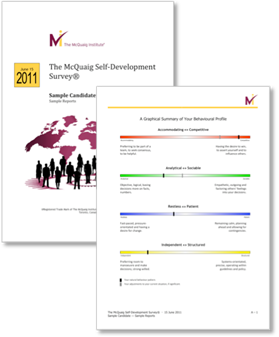 McQuaig Self Development Survey covers from the McQuaig Psychometric System