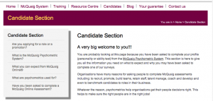 Candidate Section for the McQuaig Psychometric System