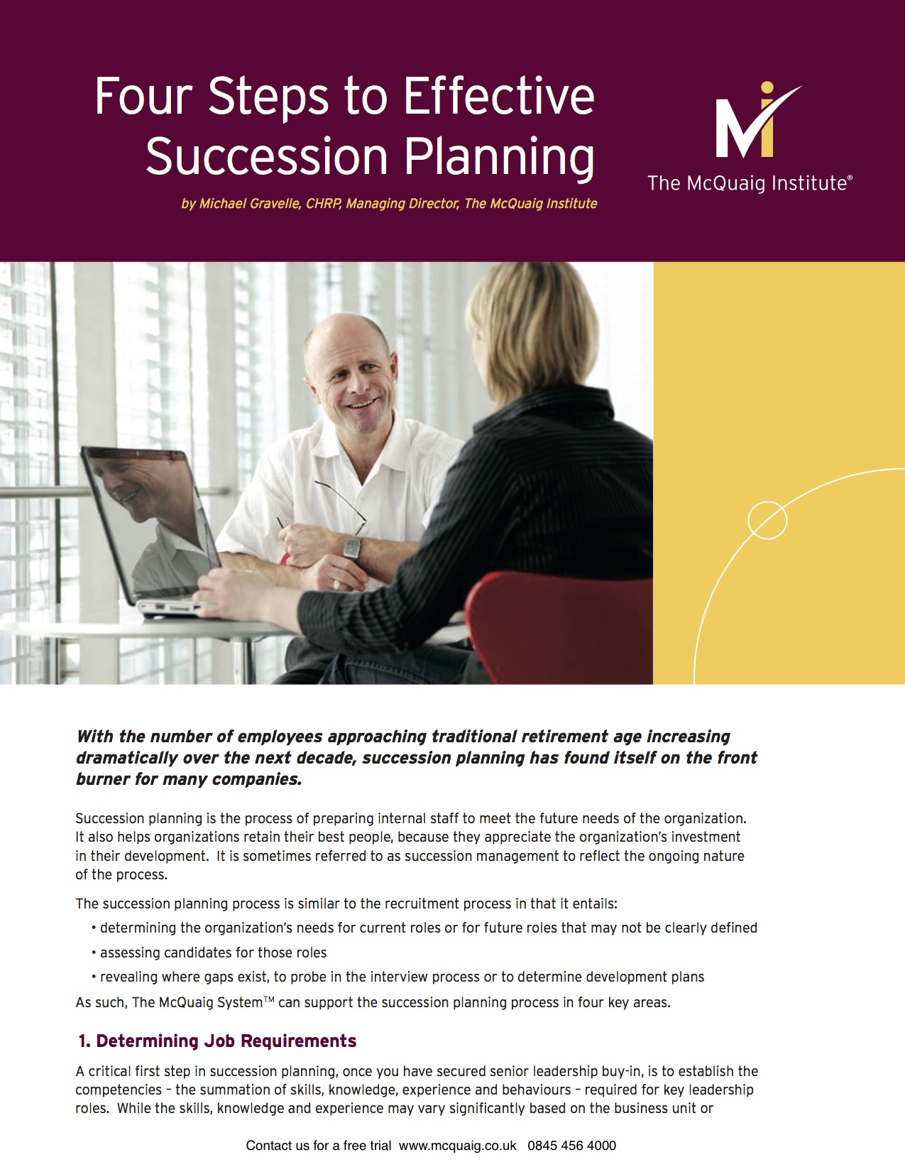 Four Steps to Effective Succession Planning from The McQuaig Psychometric System from Holst