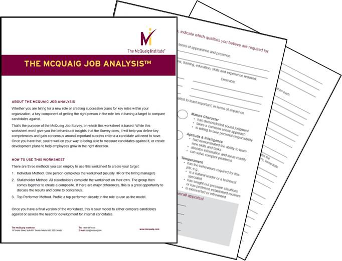 The Mcquaig Job Analysis  Mcquaig Psychometric System